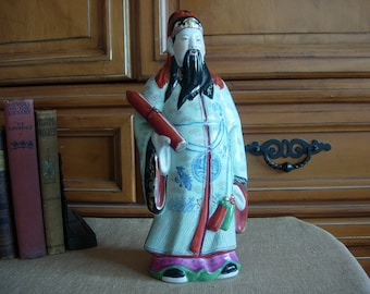 Chinese Porcelain Male Figurine Fu with Scroll 13 1/2 inch Tall