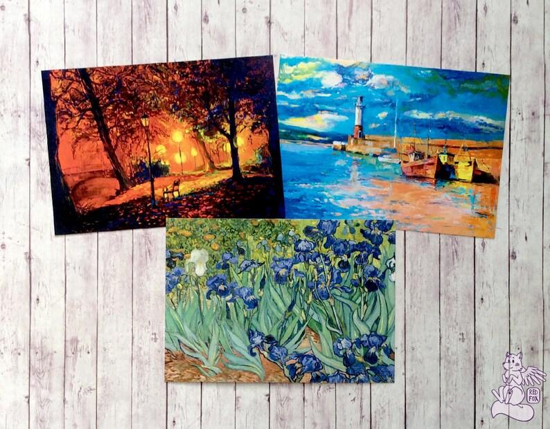 Art print postcards collection Three Postcards in a set Postcrossing postal or greetings cards Random postcards bulk