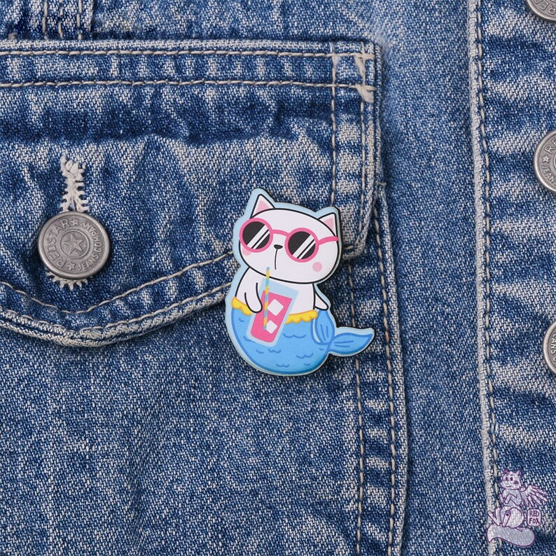 Pin Made of wood with the safe metal clasp Purrmaid Wooden Brooch Cool Colorful Summer Cat Mermaid with a cocktail glass