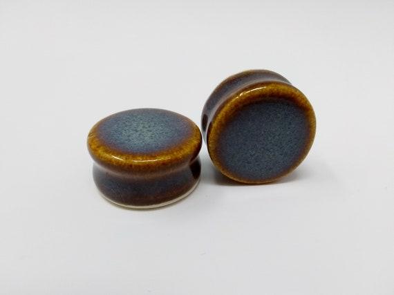 EARRINGS Gauged Flared - 25mm 1in Iron Lustre - Handmade Ceramic #406