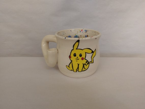 "WAKE and BAKE pipe MUG - Pokemon Inspired ""Pika!"" - Handmade Ceramic #876"
