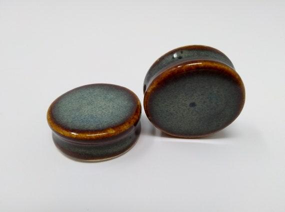 EARRINGS Gauged Flared - 36.5mm Iron Lustre - Handmade Ceramic #458