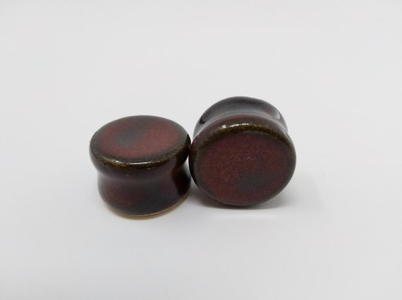 "EARRINGS Gauged Flared - 19.5mm 3/4"" Ancient Jasper - Handmade Ceramic #486"