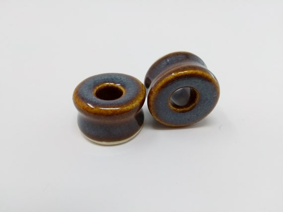 EARRINGS Gauged Flared Tunnel - 21mm Iron Lustre - Handmade Ceramic #398
