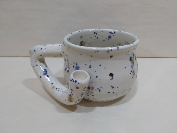 WAKE and BAKE Pipe MUG - Crystal Clear 7 - Handmade Ceramic #982
