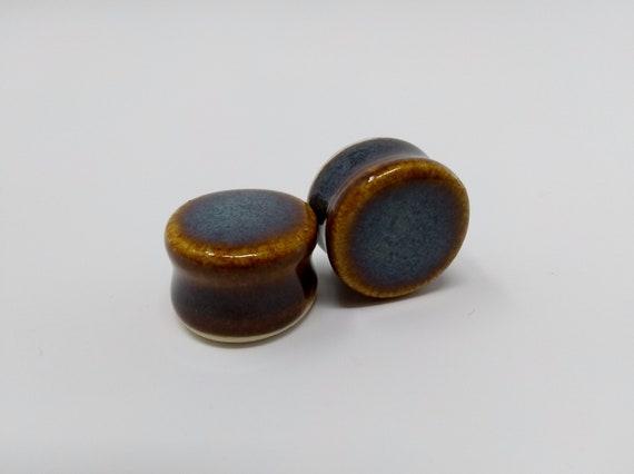 EARRINGS Gauged Flared - 19mm 3/4in Iron Lustre - Handmade Ceramic #388