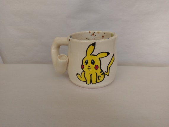 "WAKE and BAKE pipe MUG - Pokemon Inspired ""Pika!"" - Handmade Ceramic #877"