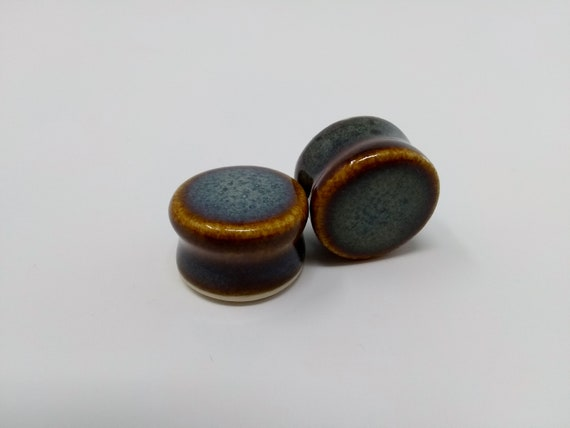 EARRINGS Gauged Flared - 19.5mm 3/4in Iron Lustre - Handmade Ceramic #391