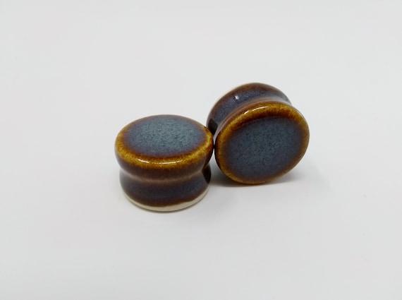 EARRINGS Gauged Flared - 21mm Iron Lustre - Handmade Ceramic #396