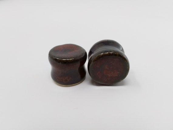 "EARRINGS Gauged Flared - 15.5mm 5/8"" Ancient Jasper - Handmade Ceramic #496"