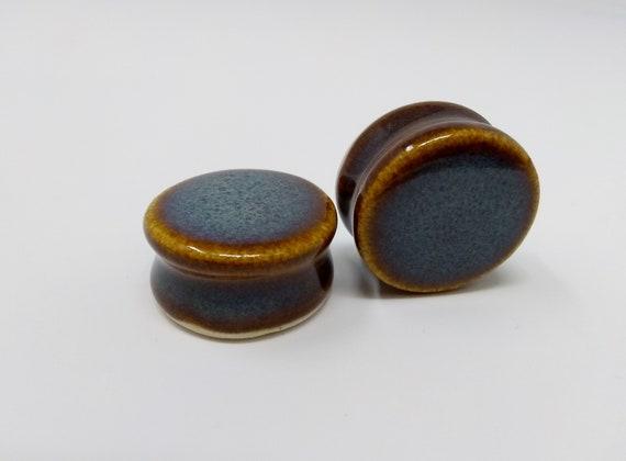 EARRINGS Gauged Flared - 24.75mm Iron Lustre - Handmade Ceramic #404
