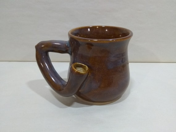WAKE and BAKE Pipe MUG - Iron Lustre - Handmade Ceramic #950