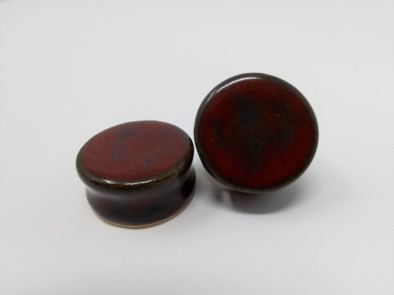 EARRINGS Gauged Flared - 26.5mm Ancient Jasper - Handmade Ceramic #479