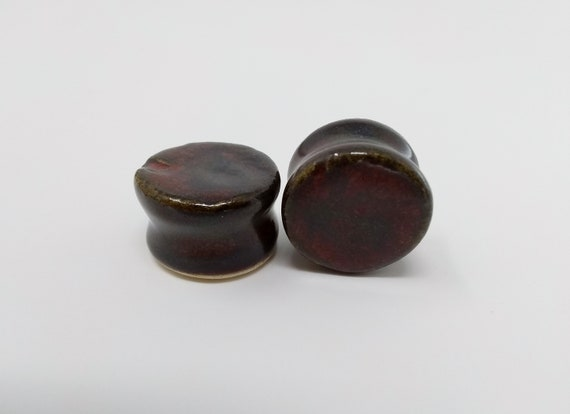 "EARRINGS Gauged Flared - 19mm 3/4"" Ancient Jasper - Handmade Ceramic #488"