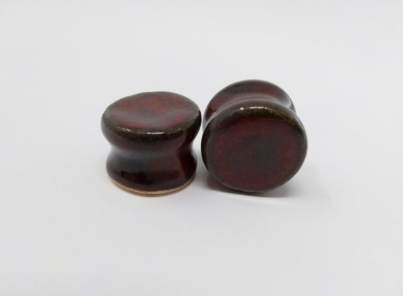 EARRINGS Gauged Flared - 18mm Ancient Jasper - Handmade Ceramic #493