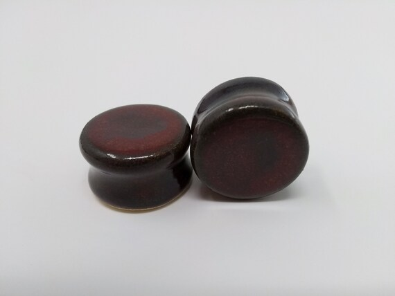 EARRINGS Gauged Flared - 21mm Ancient Jasper - Handmade Ceramic #481
