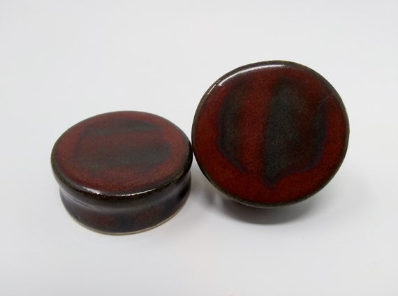 EARRINGS Gauged Flared - 37mm Ancient Jasper - Handmade Ceramic #471