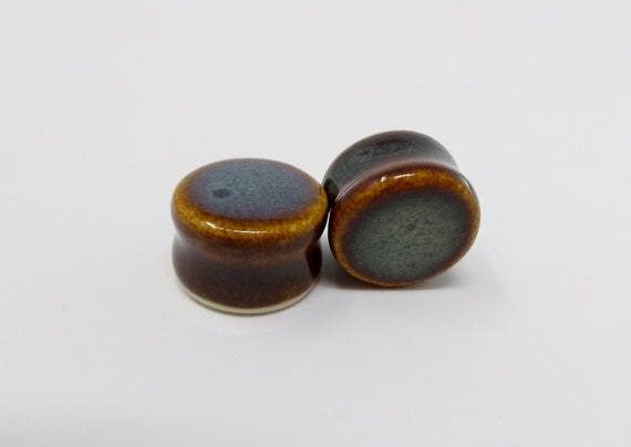 EARRINGS Gauged Flared - 20mm Iron Lustre - Handmade Ceramic #394