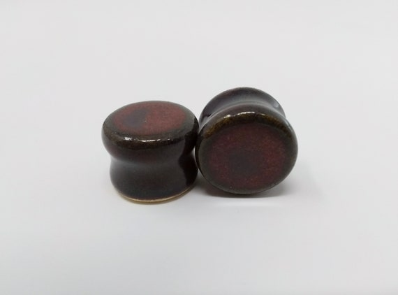 "EARRINGS Gauged Flared - 15.5mm 5/8"" Ancient Jasper - Handmade Ceramic #497"