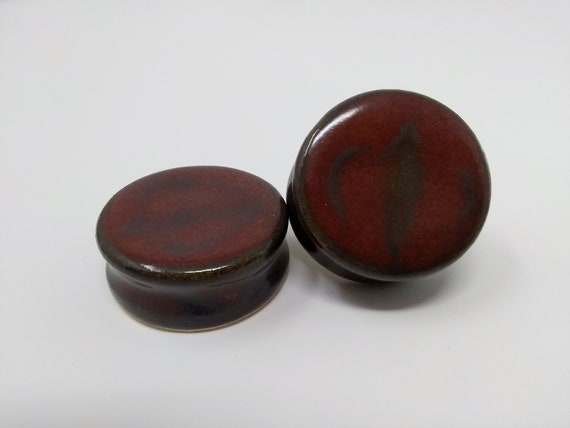 "EARRINGS Gauged Flared - 32mm 1 1/4"" Ancient Jasper - Handmade Ceramic #472"
