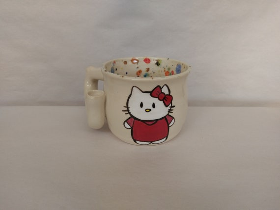 """WAKE and BAKE pipe MUG - Hello Kitty Inspired """"Kitty"""" - Handmade Ceramic #866"""