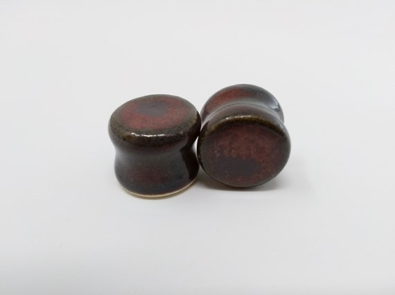 "EARRINGS Gauged Flared - 15.5mm 5/8"" Ancient Jasper - Handmade Ceramic #495"