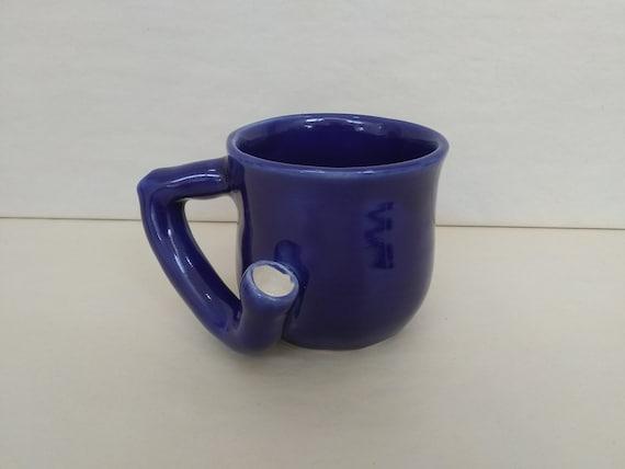 WAKE and BAKE Pipe MUG - Dark Blue - Handmade Ceramic #971