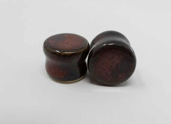 "EARRINGS Gauged Flared - 15.5mm 5/8"" Ancient Jasper - Handmade Ceramic #498"