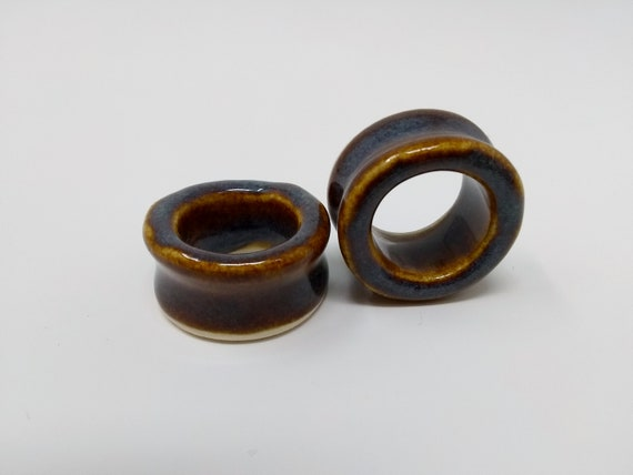 EARRINGS Gauged Flared Tunnel - 25mm 1in Iron Lustre - Handmade Ceramic #412