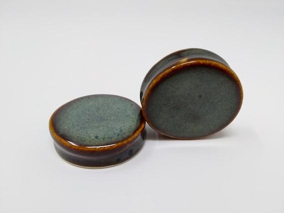 EARRINGS Gauged Flared - 43mm Iron Lustre - Handmade Ceramic #459