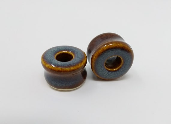 EARRINGS Gauged Flared Tunnel - 21.5mm Iron Lustre - Handmade Ceramic #397