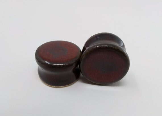 EARRINGS Gauged Flared - 21mm Ancient Jasper - Handmade Ceramic #480