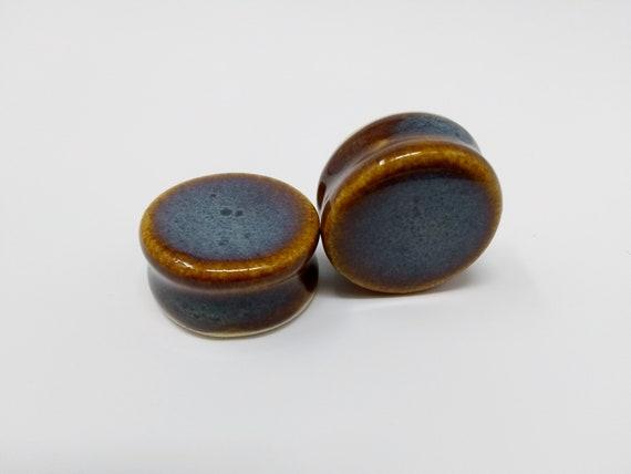 EARRINGS Gauged Flared - 26.5mm Iron Lustre - Handmade Ceramic #410