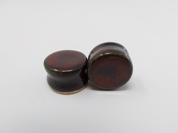 "EARRINGS Gauged Flared - 19.5mm 3/4"" Ancient Jasper - Handmade Ceramic #487"
