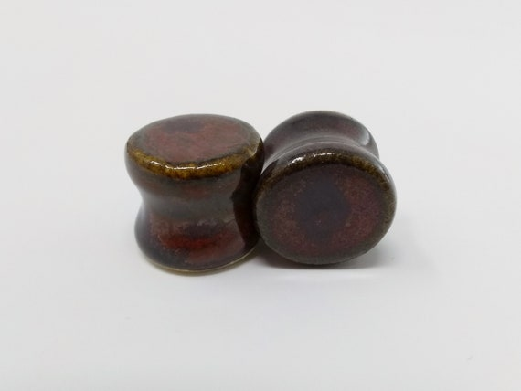 EARRINGS Gauged Flared - 14.5mm Ancient Jasper - Handmade Ceramic #500