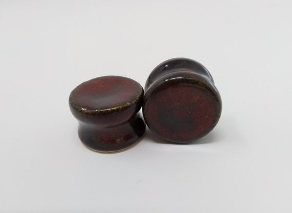 EARRINGS Gauged Flared - 20mm Ancient Jasper - Handmade Ceramic #485