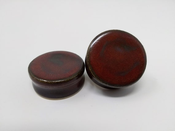 "EARRINGS Gauged Flared - 31.5mm 1 1/4"" Ancient Jasper - Handmade Ceramic #474"