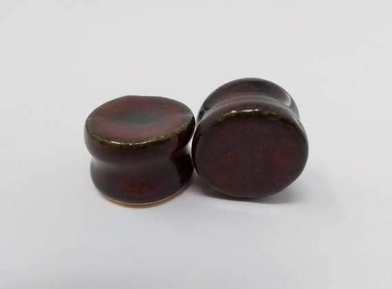 EARRINGS Gauged Flared - 20.5mm Ancient Jasper - Handmade Ceramic #484