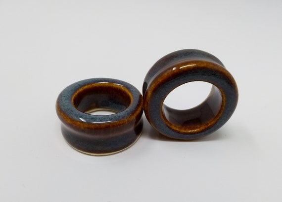 EARRINGS Gauged Flared Tunnel - 31.5mm 1.25in Iron Lustre - Handmade Ceramic #416