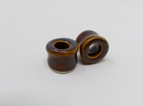 EARRINGS Gauged Flared Tunnel - 16mm 5/8in Iron Lustre - Handmade Ceramic #384