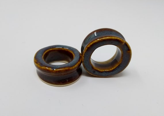 EARRINGS Gauged Flared Tunnel - 31.75mm 1.25in Iron Lustre - Handmade Ceramic #417