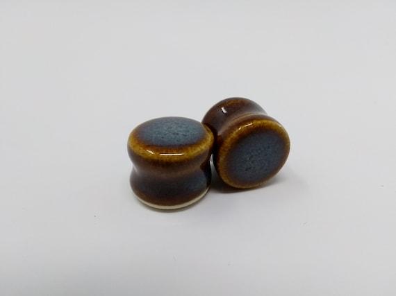 EARRINGS Gauged Flared - 16mm 5/8in Iron Lustre - Handmade Ceramic #383