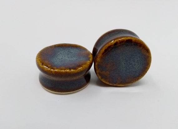 EARRINGS Gauged Flared - 24mm Iron Lustre - Handmade Ceramic #400