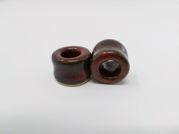 "EARRINGS Gauged Flared Tunnel - 16.5mm 5/8"" Ancient Jasper - Handmade Ceramic #494"