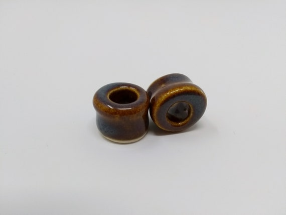 EARRINGS Gauged Flared Tunnel - 16.5mm Iron Lustre - Handmade Ceramic #385