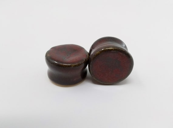 "EARRINGS Gauged Flared - 19mm 3/4"" Ancient Jasper - Handmade Ceramic #490"