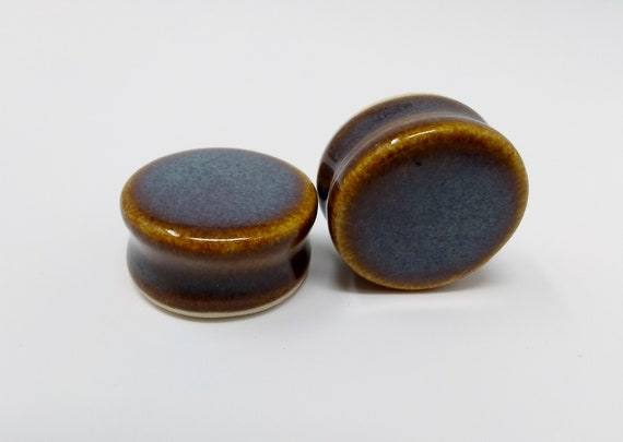 EARRINGS Gauged Flared - 26.5mm Iron Lustre - Handmade Ceramic #411