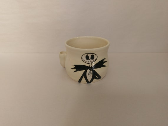"WAKE and BAKE pipe MUG - Nightmare Before Christmas Inspired ""Jack"" - Handmade Ceramic #911"