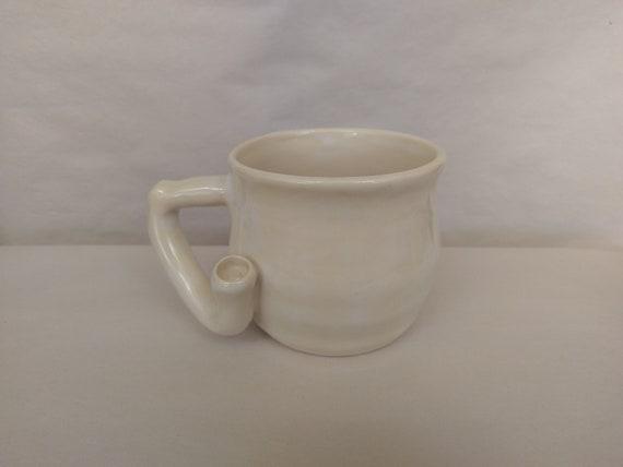 WAKE and BAKE Pipe MUG - Fuzzy White - Handmade Ceramic #897