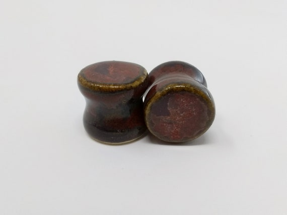 EARRINGS Gauged Flared - 14mm Ancient Jasper - Handmade Ceramic #501